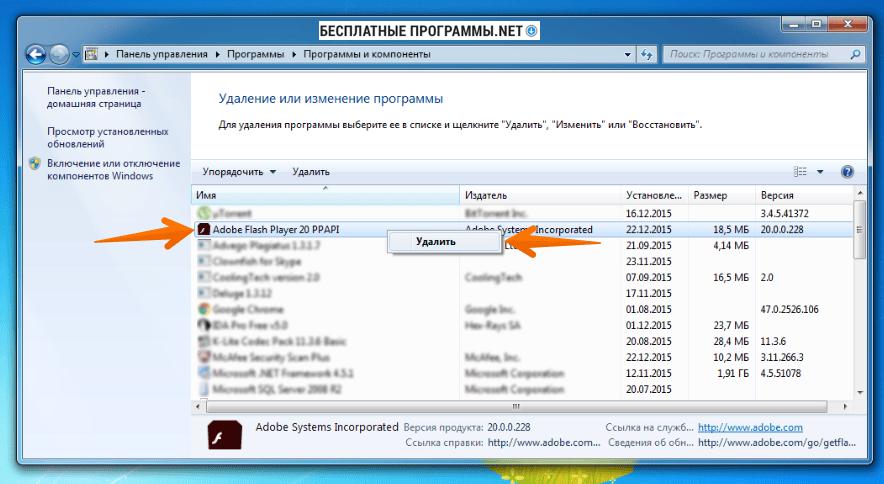 Удаление Adobe Flash Player